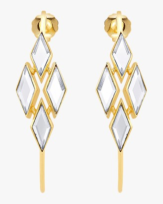 Isharya Demi Goddess Rhombus Mirror Hoop Earrings