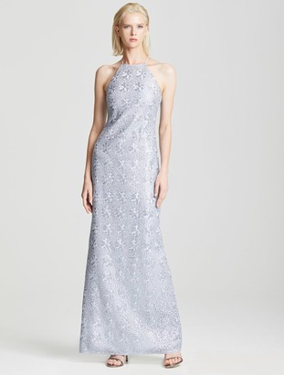 Halston Fitted Embroidered Gown