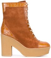 See by Chloe embossed detail boots - women - Leather/Suede/rubber - 37
