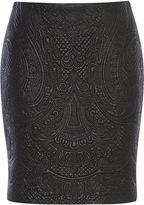 Karen Millen Faux-leather Embroidered Skirt - Black