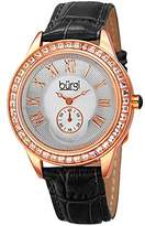 Burgi Women's BUR144BK Rose Gold Quartz Watch With Silver Dial and Swarovski Crystal Accented Bezel And Black Leather Strap