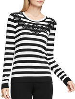 Vince Camuto Crewenck Floral Lace Applique Striped Sweater