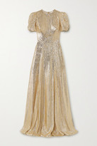 The Vampire's Wife The American Chevron Bow-detailed Wool-blend Lame Gown - Gold