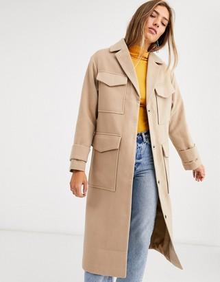 Asos Design DEISGN utility twill coat in camel-Beige