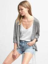 Linen batwing open-front cardigan