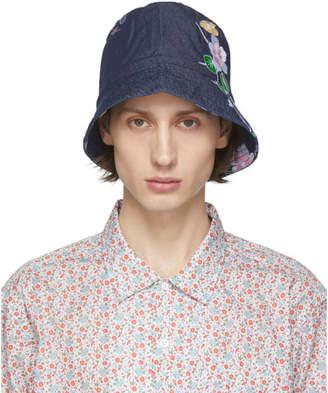 Engineered Garments Indigo Denim Floral Bucket Hat