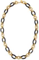"Ashley Pittman Ikulu Dark Horn & Bronze Chain Necklace, 36"""