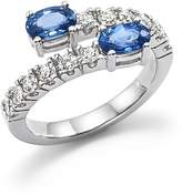 Bloomingdale's Diamond and Sapphire Two-Stone Bypass Ring in 14K White Gold