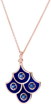 Selim Mouzannar Diamond Sapphire and Navy Enamel Scales Pendant Necklace - Rose Gold