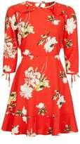 Topshop Red Paint Floral Tea Dress
