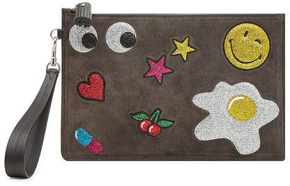 Anya Hindmarch Suede Clutch with Glitter Appliqués