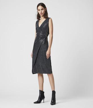 AllSaints Allegra Wrap Shimmer Dress