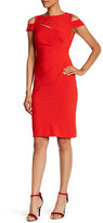 Tahari Cutout Shoulder Sheath Dress