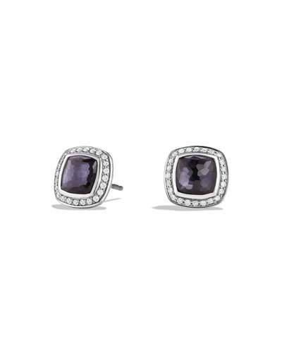 David Yurman Albion Stud Earrings with Black Orchid and Diamonds