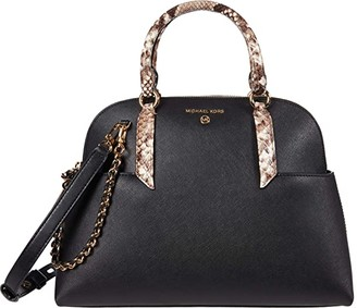MICHAEL Michael Kors Hudson Large Dome Satchel (Black) Handbags