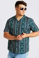 BoohooMAN Big & Tall Aztec Revere Collar Shirt