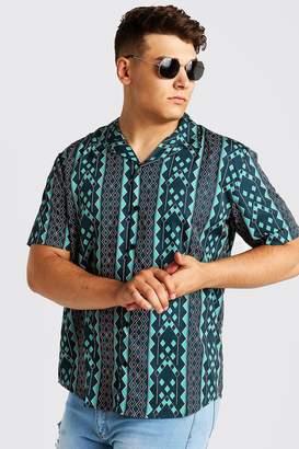 BoohoomanBoohooMAN Mens Green Big & Tall Aztec Revere Collar Shirt, Green