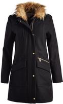 Cole Haan Black Faux Fur-Collar Wool-Blend Coat