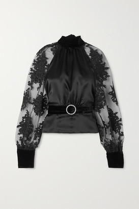 HARMUR Open-back Belted Lace-trimmed Tulle, Silk-satin And Velvet Blouse