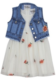 Rare Editions Toddler Girls Floral Embroidered Mesh Dress with Vest