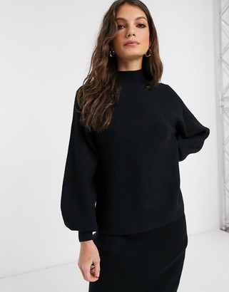 Vila two-piece sweater with high neck in black