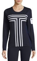 Tory Sport Long-Sleeve Performance Graphic Top, Navy