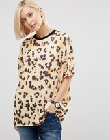 Asos T-Shirt in Boxy Fit and Abstract Leopard Print