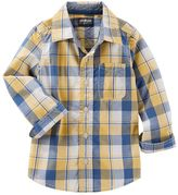 Osh Kosh Boys 4-8 Woven Large Plaid Long Sleeve Button-Down Shirt