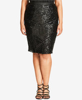 City Chic Trendy Plus Size Sequined Pencil Skirt