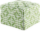 Miles Talbott Collection Butterfly Tufted Ottoman, Moss Lattice
