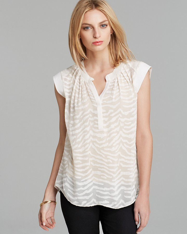 Rebecca Taylor Top - Sleeveless Zebra Clip