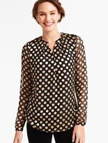 Talbots Burn-Out Polka Dot Blouse