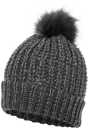 Love Lola Womens Bobble Hats Ribbed Sequin Detachable Faux Fur Pom Pom Winter Woolly Knitted Ski Hats (Charcoal)