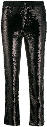 J Brand Cropped Sequin-Embellished Jeans