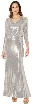 Calvin Klein Sequin Gown w/ Shoulder Cutouts (Gold Multi) Women's Dress