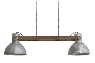 Rhubarb Home - Weathered Wood and Vintage Silver Rustic Hanging Lamp - silver - Silver/Silver