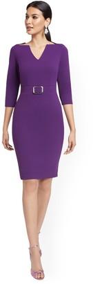 New York & Co. V-Neck Buckled-Detail Sheath Dress - Magic Crepe