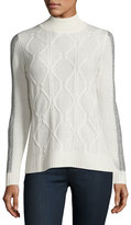Neiman Marcus Cashmere Cable-Knit Turtleneck Sweater, Ivory
