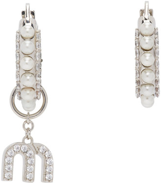 Miu Miu Silver Pearl Pendant Earrings