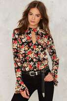 Factory Chokes On You Floral Blouse
