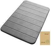 """VDOMUS Non-slip bath mats memory foam bathroom mat soft coral velvet fabric Gray, 20""""32"""""""