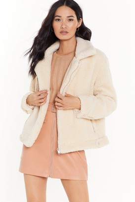 Nasty Gal Womens As Fur Usual Aviator Faux Fur Jacket - Cream