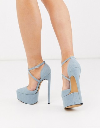 ASOS DESIGN Perplex pointed platform stiletto heels in denim