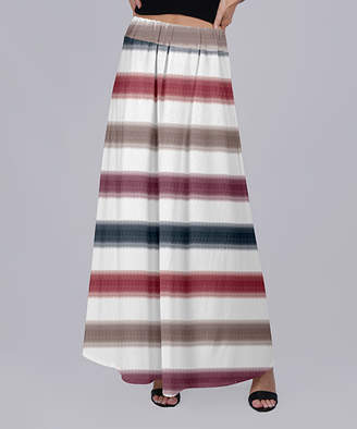 Beyond This Plane Women's Maxi Skirts WHT - Red & White Stripe Maxi Skirt - Women & Plus
