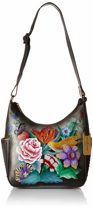 Anuschka Womens Genuine Leather Classic Hobo With Studded Side Pockets - Vintage Bouquet