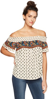 Taylor & Sage Women's Engineered Print Off The Shoulder Top