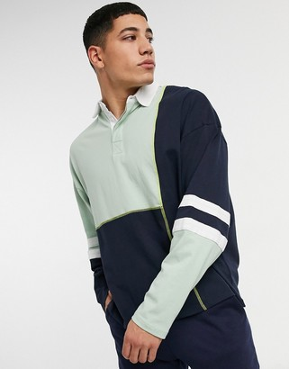 ASOS DESIGN oversized long sleeve rugby shirt in pastel colorblock