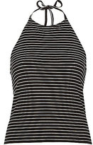 River Island Womens Black stripe ribbed halter neck top