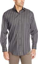 Thomas Dean Men's 2 Button SPRD Collar Jacquard Stripe, Grey