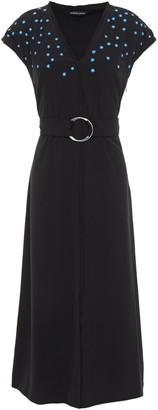 Markus Lupfer Alexis Belted Embellished Crepe Midi Dress
